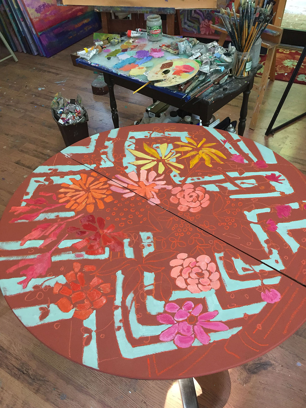 what inspires artist, hand painted table,