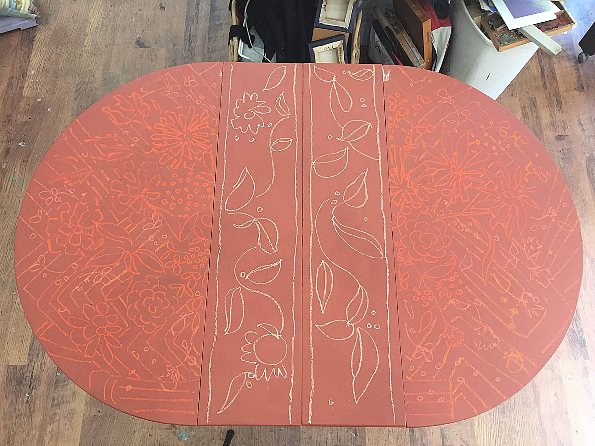 what inspires artist, hand painted table