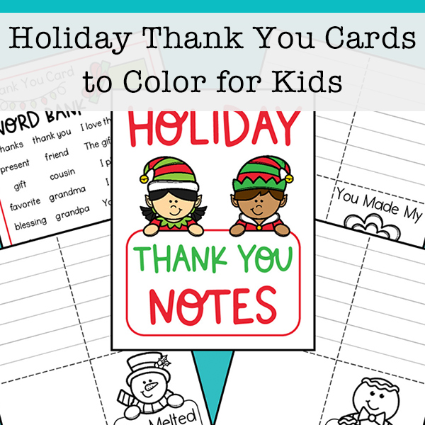 Eight Holiday Thank You Cards to Color for Kids